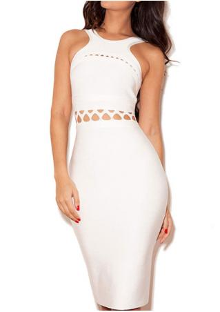 Hollow Bodycon Sleeveless Long Sexy Dress