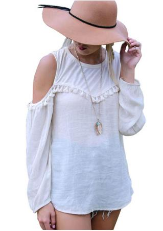 Chiffon Off Shoulder Long Sleeve Blouse