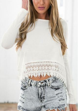 Lace Long Sleeve Crewneck Crop Top