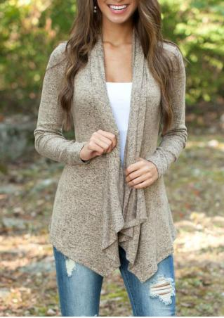Long Sleeve Solid Color Casual Cardigan