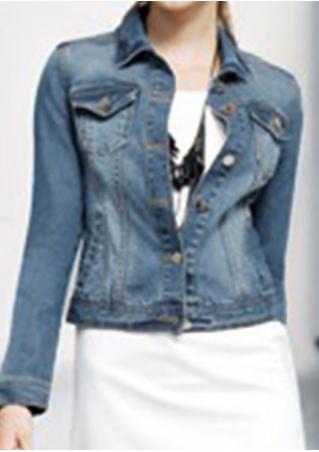 Denim Long Sleeve Stand Collar Jacket Denim