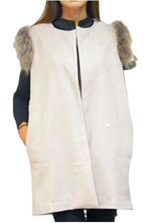 Sleeveless Suede Fur Coat Sleeveless