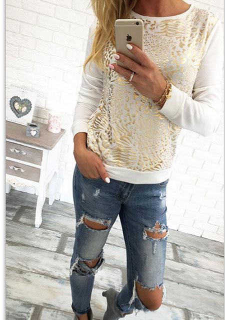 Bluză de damă, fashion, slim fit, din poliester, cu paiete și mâneci lungi