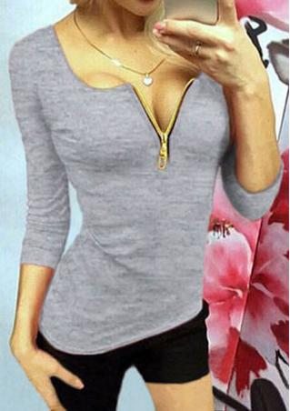 Zip Long Sleeve Casual T-Shirt