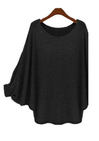 Solid Batwing Sleeve Casual Pullover Sweater