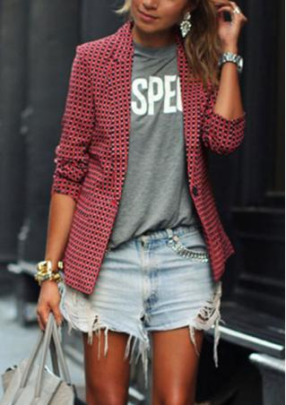 Checker Lapel Long Sleeve Blazer