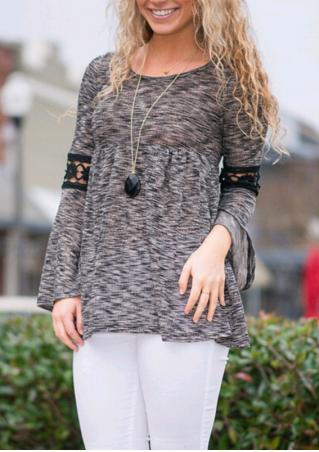Lace Long Sleeve Crewneck Loose Blouse