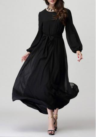 Chiffon Long Maxi Dress With Belt Without Necklace Chiffon