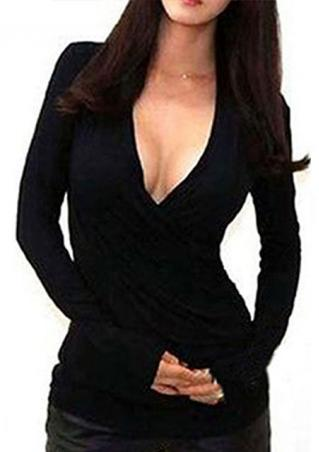 V Neck Bodycon Long Sleeve T-Shirt