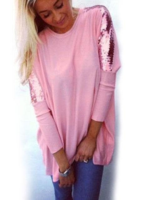 Bluză de damă, fashion, largă, din poliester, cu mâneci lungi și paiete