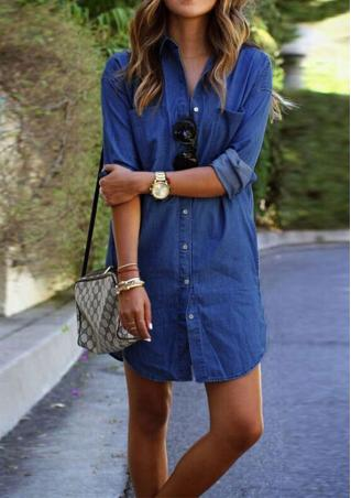 Button Down Denim Long Shirt