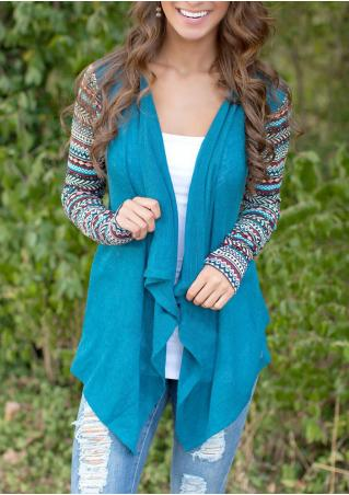 Long Sleeve Splicing Irregular Cardigan