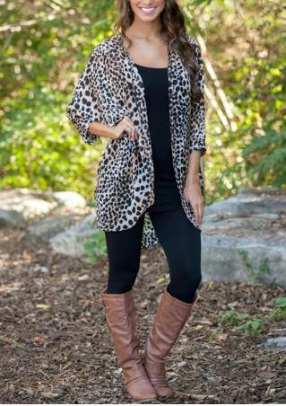 Leopard Pattern Casual Chiffon Cardigan