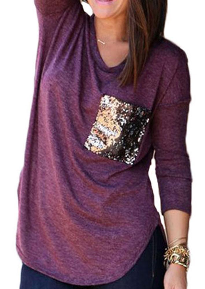 Sequin Pocket Loose T Shirt Fairyseason