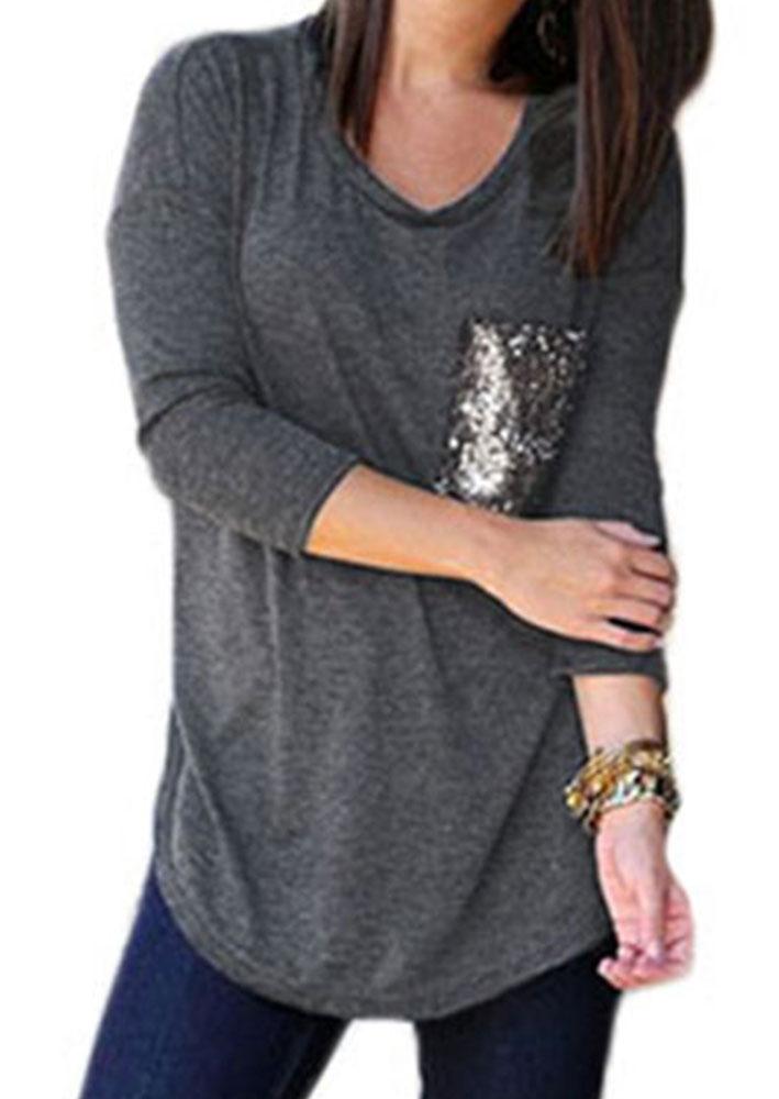 sequin pocket loose t shirt fairyseason. Black Bedroom Furniture Sets. Home Design Ideas