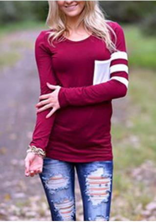 Stripe Pocket Casual Blouse