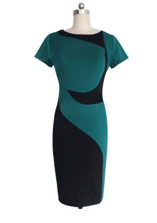 Splicing Slim Fit Bodycon Dress
