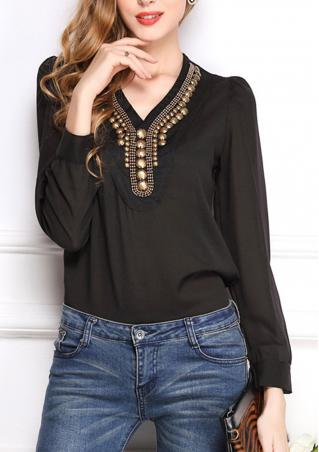 Chiffon Long Sleeve Casual Blouse