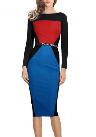 Splicing Bodycon Long Sleeve Dress With Belt