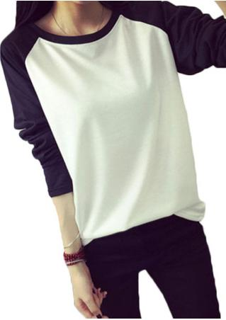 Splicing Long Sleeve Casual Pullover