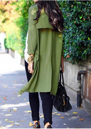 Irregular Hem Lapel Pocket Long Coat