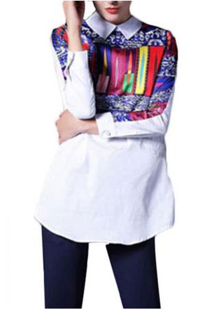 Printing Zipper Long Sleeve Shirt