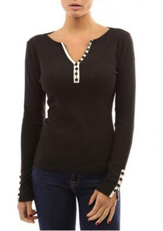 Button V Neck Long Sleeve T-Shirt