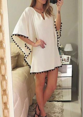 Butterfly Sleeve V Neck Mini Casual Dress
