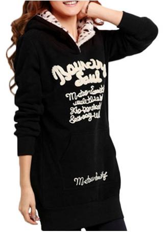 Letter Long Sleeve Casual Long Hoodie