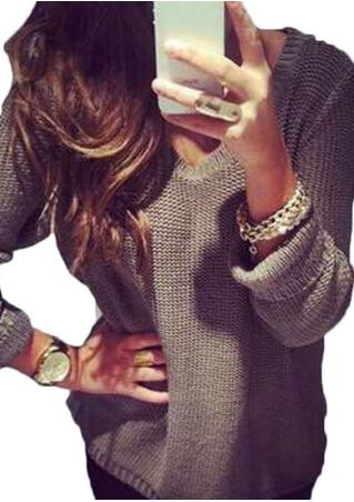 V Neck Casual Loose Pullover Sweater