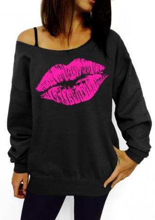 Lip Long Sleeve Off Shoulder Sweatshirt