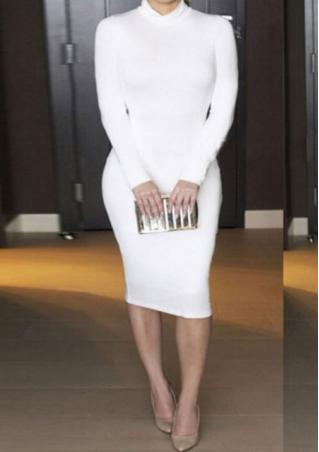 Solid Turtleneck Long Sleeve Dress