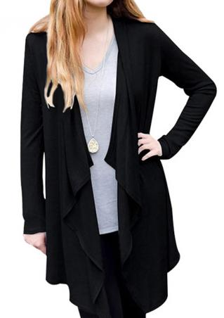 Solid Color Irregular Long Sleeve Cardigan