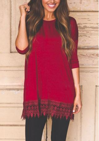 Solid Lace Mini Casual Loose Dress