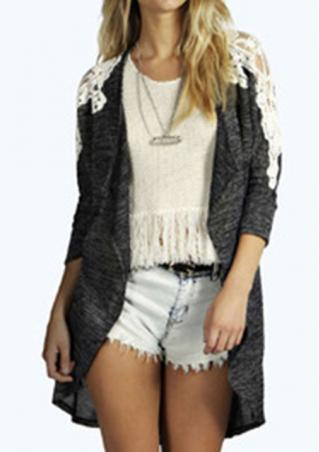 Lace Splicing Long Casual Cardigan