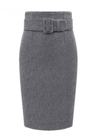 Hip Package High Waist Solid Pencil Skirt