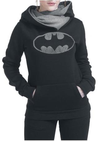 Hooded Long Sleeve Pocket Design Printed Hoodie