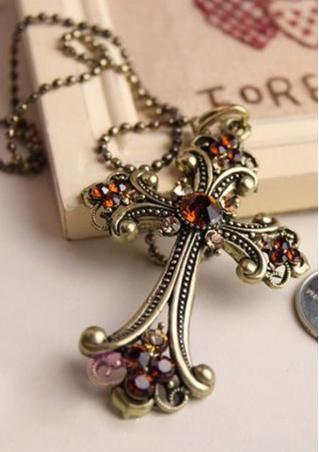 Vintag Rhinestones Cross Necklace
