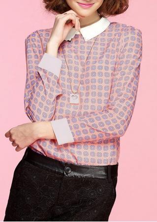 Print Chiffon Long Sleeve Casual Shirt