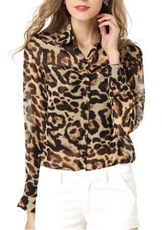 Leopard Chiffon Long Sleeve Loose Shirt