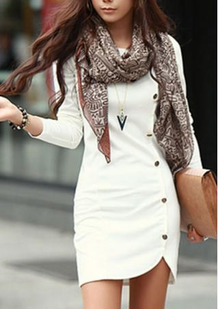 Long Sleeve Button Mini Dress Without Necklace