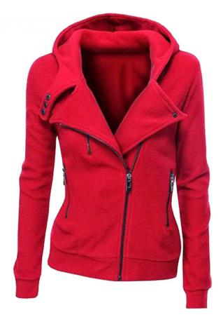 Solid Zipper Hooded Long Sleeve Casual Hoodie