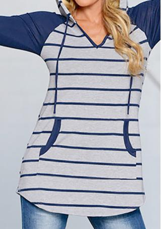 Striped Splicing Casual Hoodie