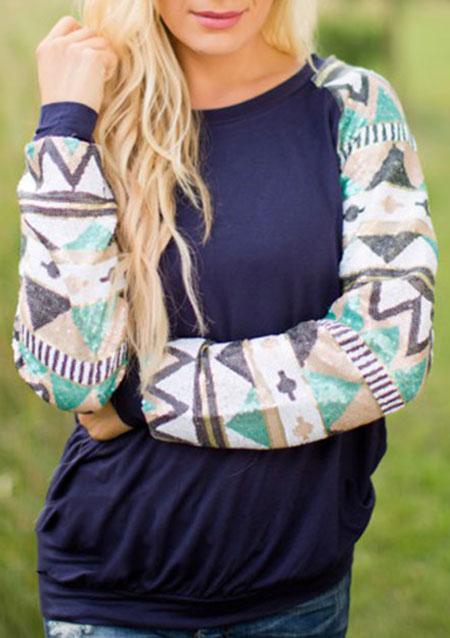 Tricou de damă, casual, din poliester, cu imprimeu geometric și mâneci lungi
