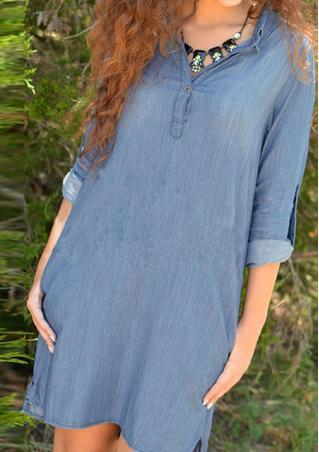 Denim Casual Loose Mini Dress Without Necklace Denim