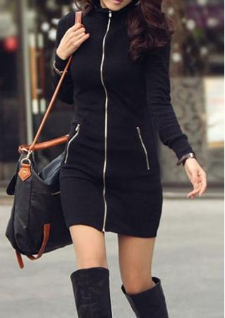Zipper Long Sleeve Mini Dress