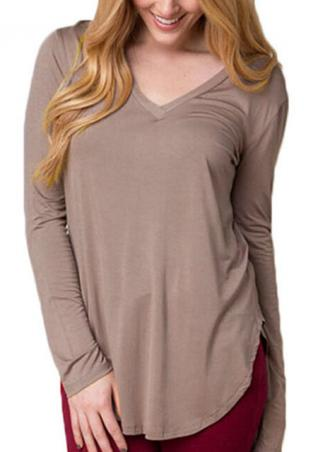 V Neck Side Slit Long Sleeve Solid T-shirt
