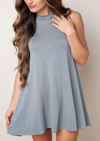 Crewneck Sleeveless Solid Mini Dress Crewneck