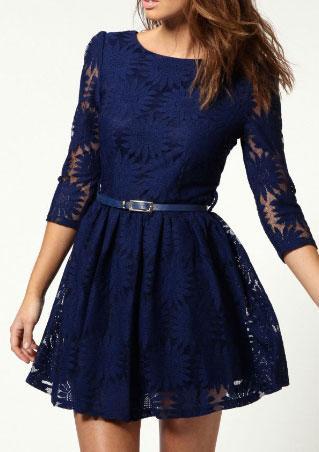 Lace Floral A-Line Mini Dress With Belt