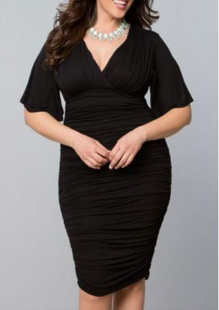 Plus Size V Neck Solid Dress Without Belt Necklace